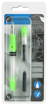 Manuscript Cartridge Pen Fountain Clarity Iridium Nib Green