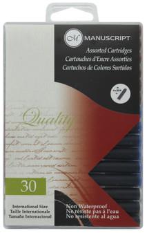 Manuscript Cartridge Pen Fountain Pen Ink Cartridge 30pc Assorted
