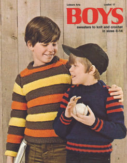 Leisure Arts Boys Sweaters To Knit And Crochet - Digital Pattern
