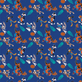 Space Jam Precut 2yd Players Tonal Blue