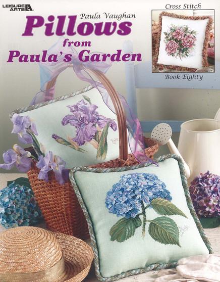 Leisure Arts Pillows From Paula's Garden Cross Stitch Book