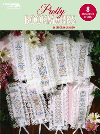 Leisure Arts Pretty Bookmarks 8 Cross Stitch Book
