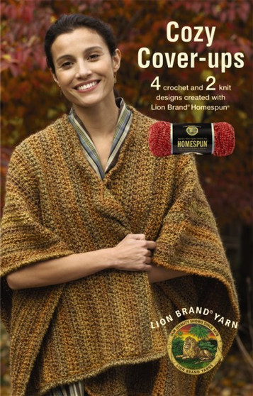 Leisure Arts Lion Brand Cozy Cover Ups Crochet Book