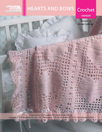 ePattern Hearts and Bows Baby Afghan