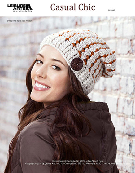 Stay chic and comfy by crocheting a Casual Chic hat just in time for the cooler weather. Designed by Kristi Simpson and crocheted using medium weight yarn and Easy or Easy-Plus skill Level .