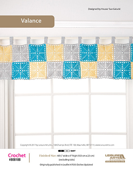 Block-featured Valence crochet pattern to hang around the house. Designed by Sue Galucki.