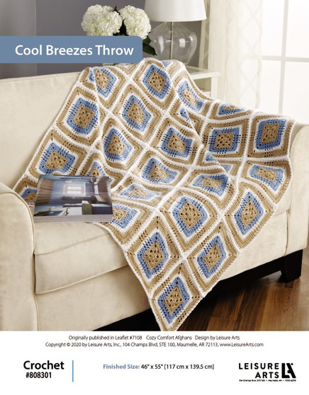"""Cool Breezes Throw Crochet Afghan ePattern, originally published in Leaflet #7108 Cozy Comfort Afghans, design by Leisure Arts. Finished Size: 46"""" x 55"""" [117 cm x 139.5 cm]"""
