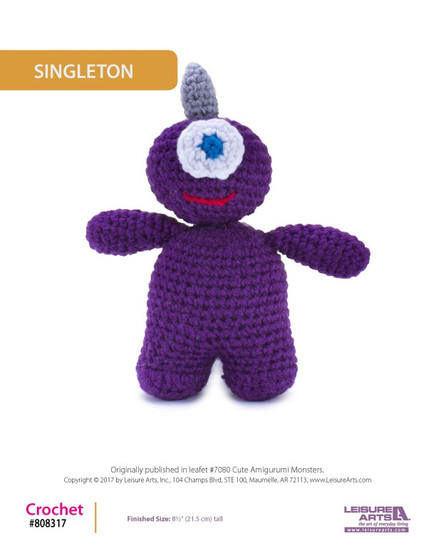 """Crochet cuteness with this adorable crocheted amigurumi monster! Finished doll measures approximately 8.5"""" tall."""