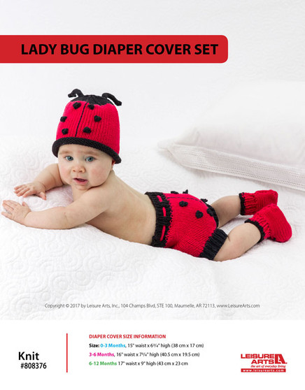 ePattern Lady Bug Diaper Cover