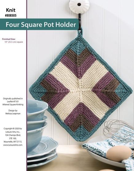 Four Square Knit Potholder originally published in Leaflet #7101 Mitered Square Knitting, design by Melissa Leapman.