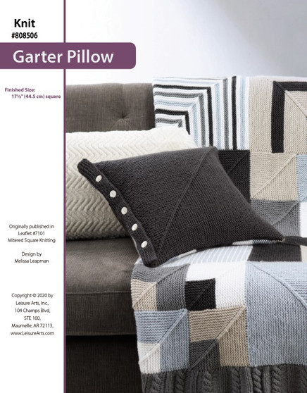 Garter Pillow Knit ePattern originally published in Leaflet #7101 Mitered Square Knitting design by Melissa Leapman.