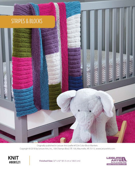 Knit cute projects such as Stripes and Blocks!