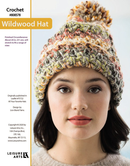Wildwood Hat Crochet ePattern, originally published in Leaflet #75722 All Your Favorite Hats Finished Circumference: About 20 in. (51 cm), will stretch to fit a range of sizes.
