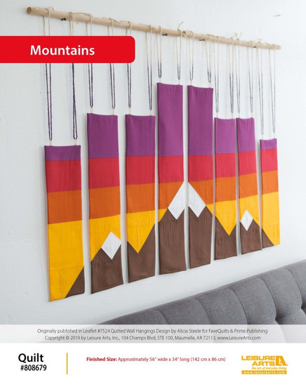 Bring a rocky mountain adventure home as you quilt this beautiful color blocked Mountain Wall Hanging! Created by Alicia Steele from FaveQuilts, this pattern is meant to bring some rustic charm with bold hues and ombre backdrops. This pattern comes from our leaflet Quilted Wall Hangings, Item 7494.