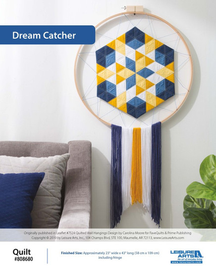 Keep your good dreams safe and sound, and your nightmares locked away with this creative Dream Catcher Quilted Wall Hanging! Created by Carolina Moore from FaveQuilts, this pattern is meant to bring some mystic magic with geometric designs and complimentary color schemes. This pattern comes from our leaflet Quilted Wall Hangings, Item 7494.