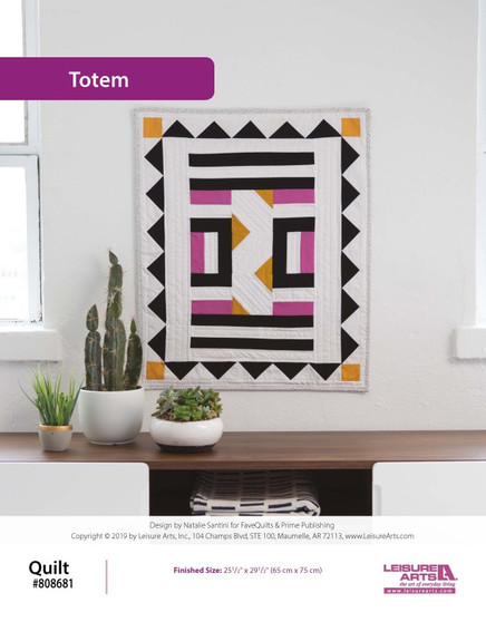 Bring home some modern magic when you quilt this Totem Wall Hanging! Created by Natalie Santini from FaveQuilts, this pattern is a minimalist showstopper with great negative space and strategic pops of color. This pattern comes from our leaflet Quilted Wall Hangings, Item 7494.