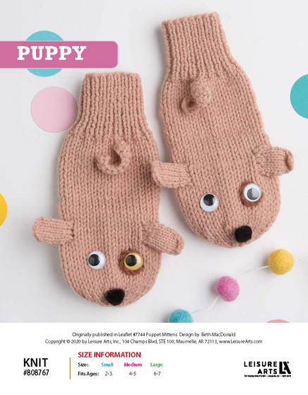 Puppy ePattern, originally published in Leaflet #7744 Puppet Mittens, designs by Beth MacDonald.