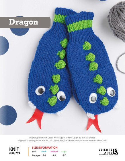 Knit Dragon ePattern, originally published in Leaflet #7744 Puppet Mittens, design by Beth MacDonald.