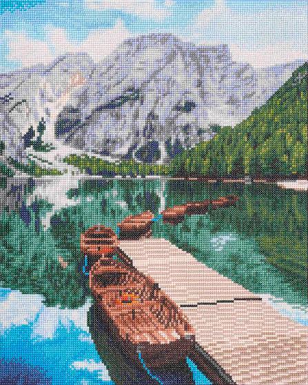 """Diamond Art Kit 16""""x 20"""" Sparkle Advanced Mountain Lake"""