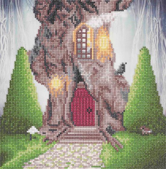 "Diamond Art Kit 12""x 12"" Sparkle Intermediate Gnome Home"