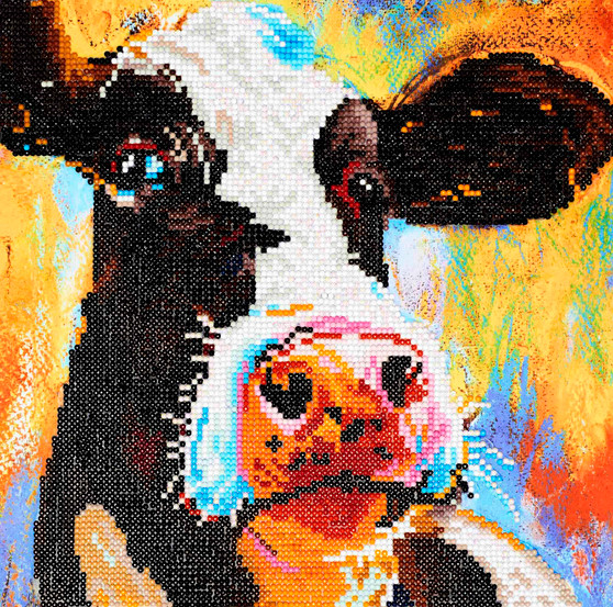 "Diamond Art Kit 12""x 12"" Intermediate Painted Cow"