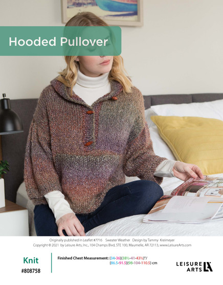 ePattern Knit Hooded Pullover