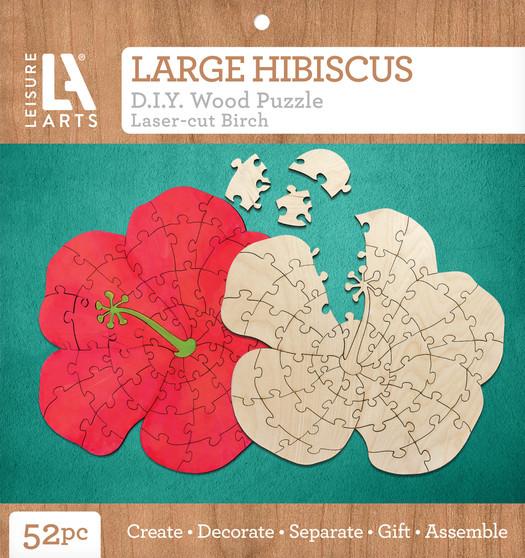 Leisure Arts Wood Puzzle Large Hibiscus