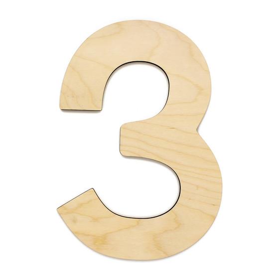 """Essentials By Leisure Arts Wood Letter 9.5"""" Birch No 3"""