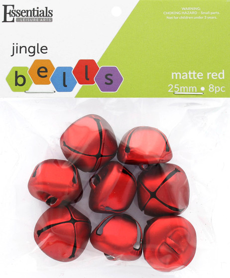 Essentials By Leisure Arts Bell Jingle 25mm Matte Red 8pc