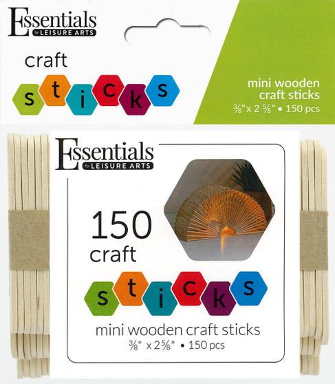 "Essentials By Leisure Arts Wood Craft Sticks Mini .38""x 2.63"" 150pc"
