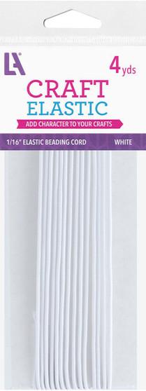 "EBL Elastic Beading Cord 1/16"" 4yd Wht"