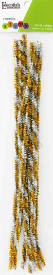 """Essentials By Leisure Arts Chenille 12"""" Stem 8mm Holiday Tinsel Gold/Silver 10pc"""