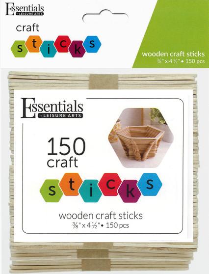 """Essentials By Leisure Arts Wood Craft Sticks .38""""x 4.5"""" 150pc"""