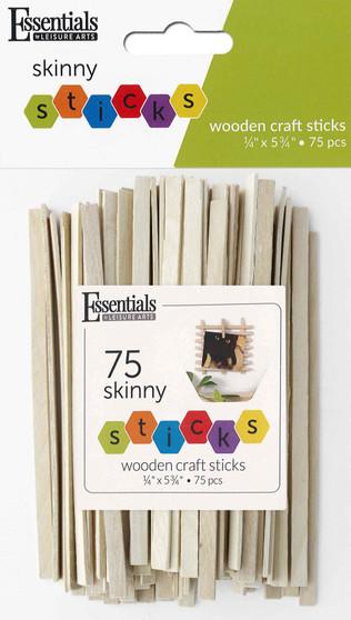 "Essentials By Leisure Arts Wood Craft Sticks Skinny .25""x 5.75"" 75pc"