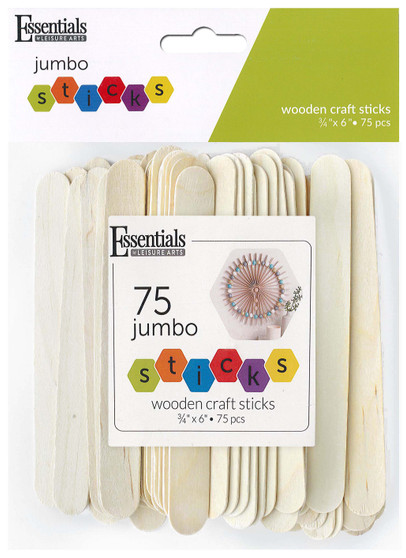 "Essentials By Leisure Arts Wood Craft Sticks Jumbo .75""x 6"" 75pc"