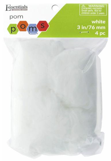 "Essentials By Leisure Arts Pom Pom 3"" White 4pc"