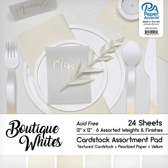 "Paper Accents Cardstock Pad 12""x 12"" Boutique Whites Assortment 24pc"