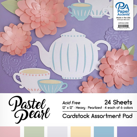 """Paper Accents Cardstock Pad 12""""x 12"""" Pastel Pearl Assortment 24pc"""