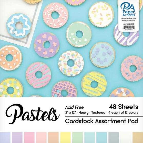 "Paper Accents Cardstock Pad 12""x 12"" Pastel Assortment 48pc"