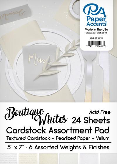 "Paper Accents Cardstock Pad 5""x 7"" Boutique Whites Assortment 24pc"