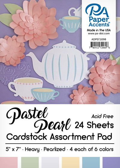 """Paper Accents Cardstock Pad 5""""x 7"""" Pastel Pearl Assortment 24pc"""