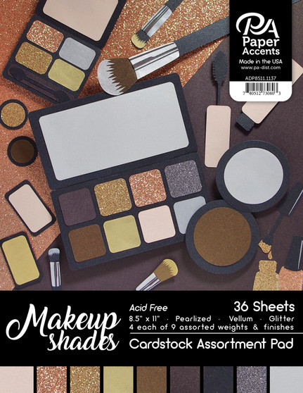 "Paper Accents Cardstock Pad 8.5""x 11"" Makeup Shades Assortment 36pc"
