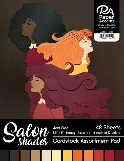 "Paper Accents Cardstock Pad 8.5""x 11"" Salon Shades Assortment 48pc"