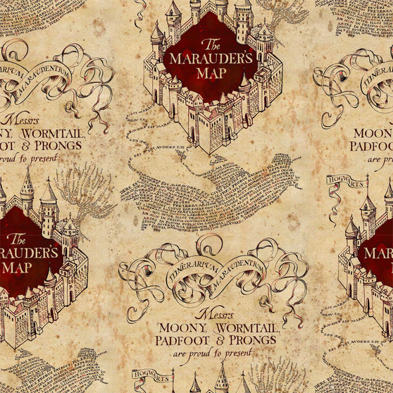 Harry Potter Marauders Map 8 yard Cotton fabric by the bolt