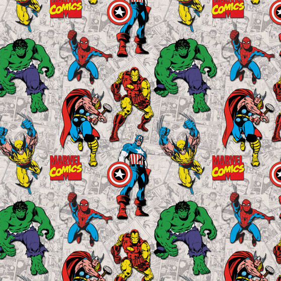 Marvel Superimposed Characters 8 yard Cotton fabric by the bolt