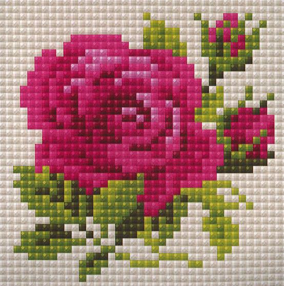 """Riolis Diamond Mosaic Kit 4""""x 4"""" Pink Rose"""