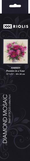 "Riolis Diamond Mosaic Kit 15""x 15"" Peonies In Vase"