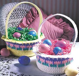 ePattern Colorful Easter Baskets Crochet