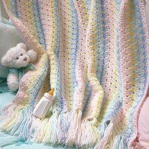 ePattern Rainbow Baby Wrap crochet baby afghan pattern