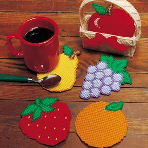 ePattern Fruit Basket Coasters in Plastic Canvas
